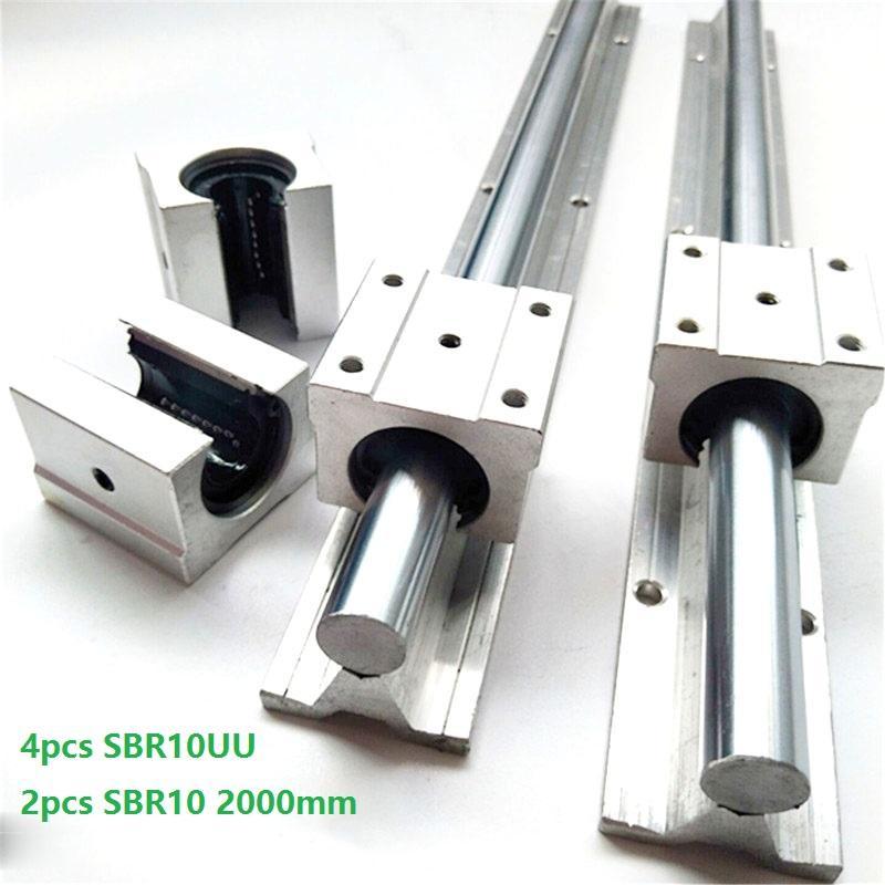 2pcs SBR10 2000mm support rail linear rail guide + 4pcs SBR10UU linear bearing blocks for CNC router parts