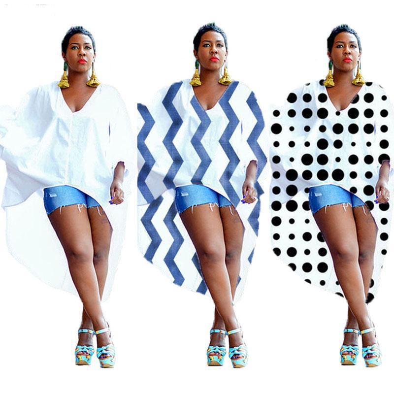 Plus La Taille Robes Africaines Pour Les Femmes 2020 New African Vêtements Irrégulière Imprimer Coton Chemise Robe Manches Chauve-Souris Top Blouses