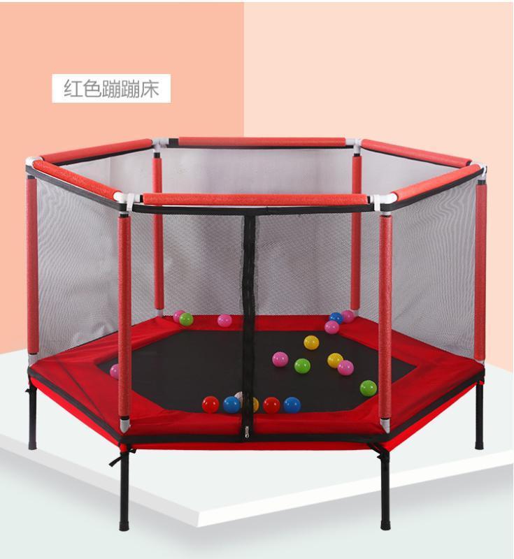 Новые горячие сбывания детская гексагональной батут крытый небольшой открытый прыжки кровать складная с защитной сеткой