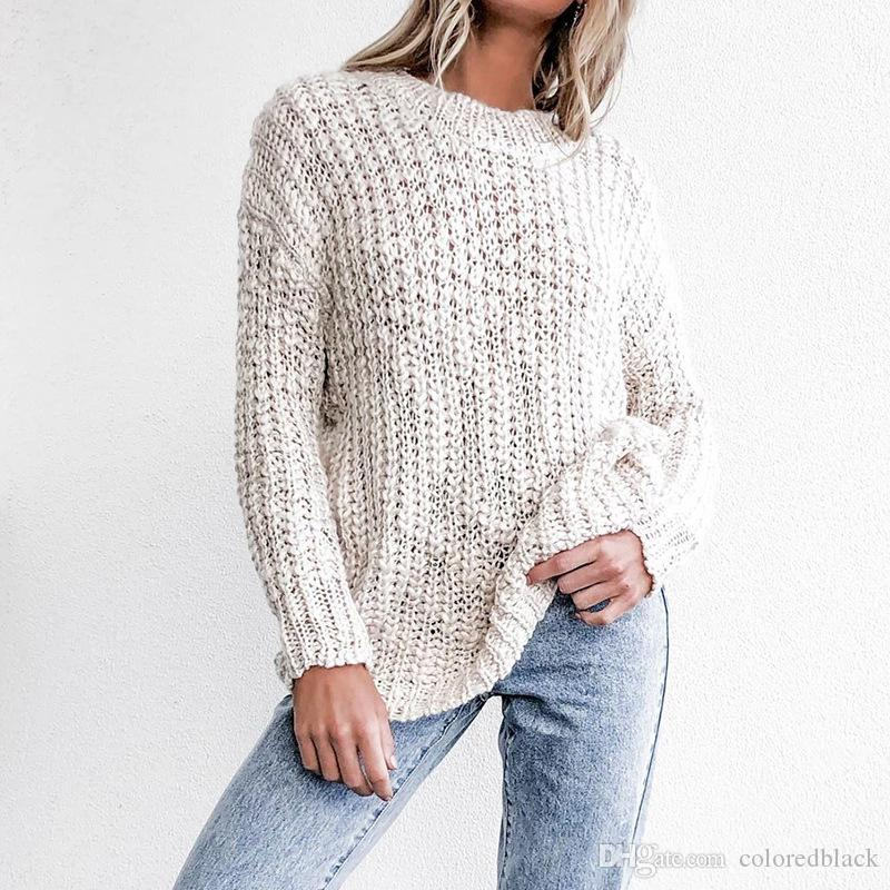 Hot Sale New Fashion Women Sweaters Loose Casual Breathable Cardigan Long Warm Garments For Ladies Pure Color