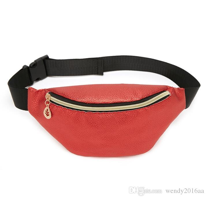 "10.62""*4.33""New Women PU Solid Single Zipper Shell Patten Fanny Packs 5Colors Ladies Cosmetic Phone Travel Waist Bags Outdoor"