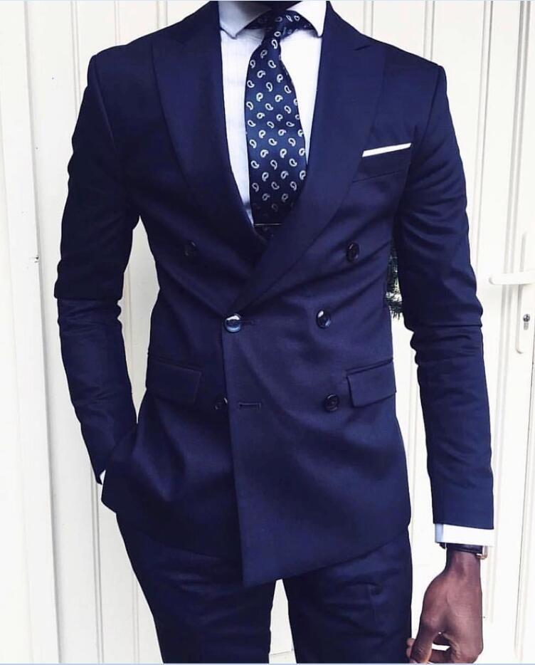 Chegada nova Azul Escuro Dos Homens Ternos 2019 Noivo Smoking Ternos Formais Homens De Negócios Vestem Tuxedos De Casamento (Jacket + Pants + Tie) Custom Made