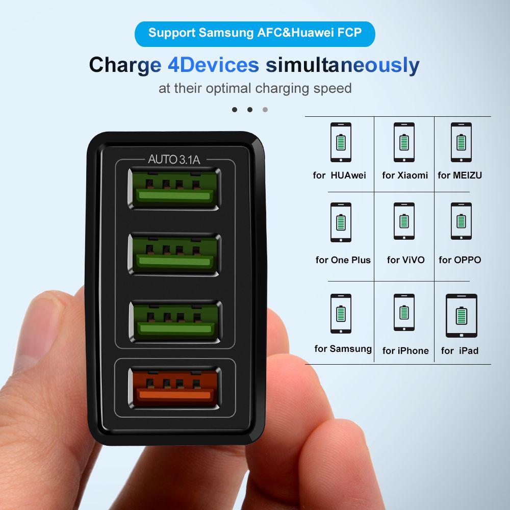 Quick Charge 3.0 4 Port USB Şarj USB Hızlı Şarj QC3.0 için Samsung Xiaomi iPhone X 7 Duvar Adaptörü
