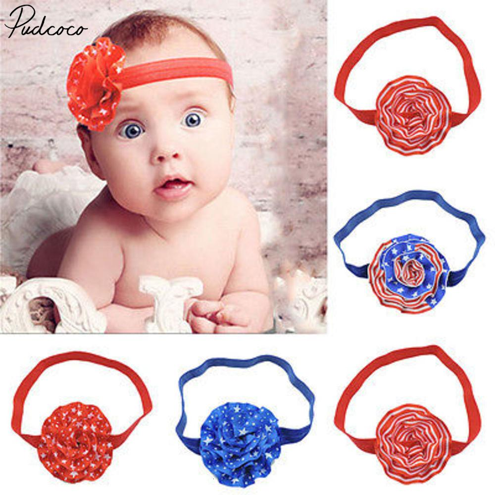 Pudcoco Yenidoğan Kafa Şerit Elastik Bebek Headdress Çocuk Saç Bandı Kız Çiçek Düğüm