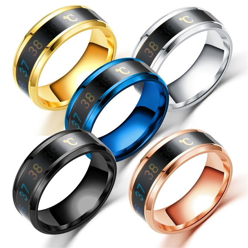 Nuovo termometro intelligente di misurazione temperatura anello in acciaio inox semplice coppia creativa gioielli da sposa Dropshipping