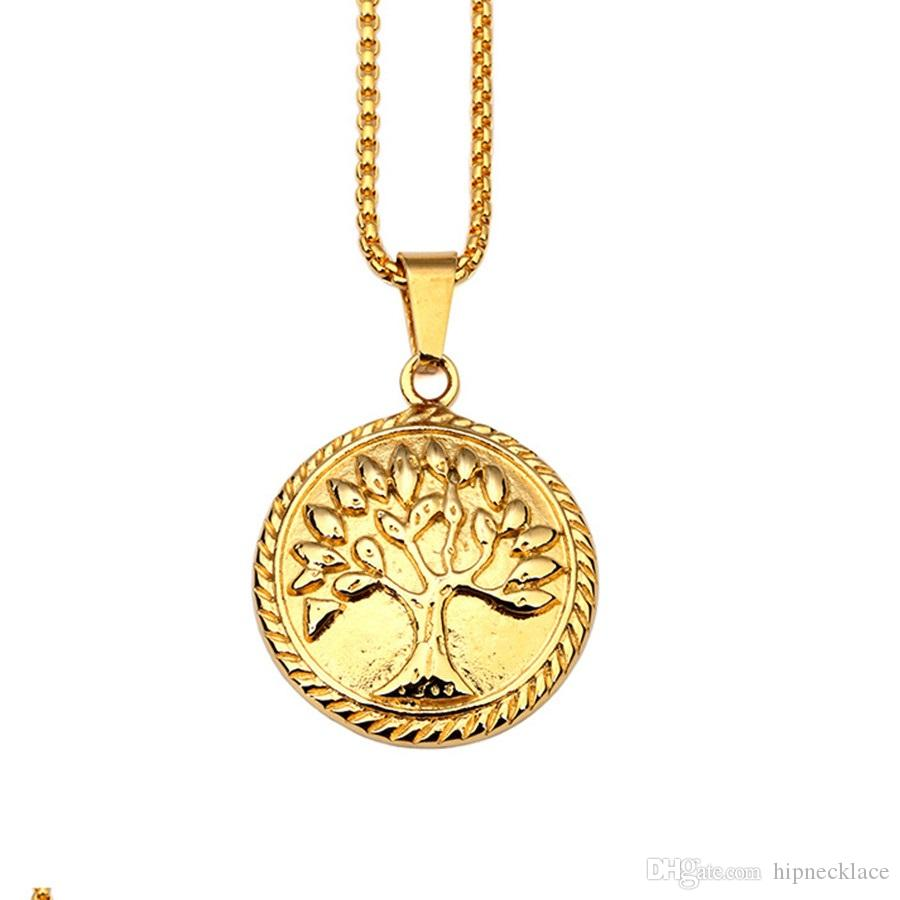 Fashion Mens 18k Gold Plate Necklace Round Charm Tree of Life Pendant Stainless Steel 60cm Long Chain Design Hip Hop Jewelry For Men