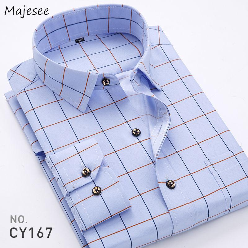 Collar Men Shirts Plaid manga comprida Casual Único Breasted All-jogo Fino Impresso Magro Ligue-down Masculino Tops Blusas Plus Size 5XL