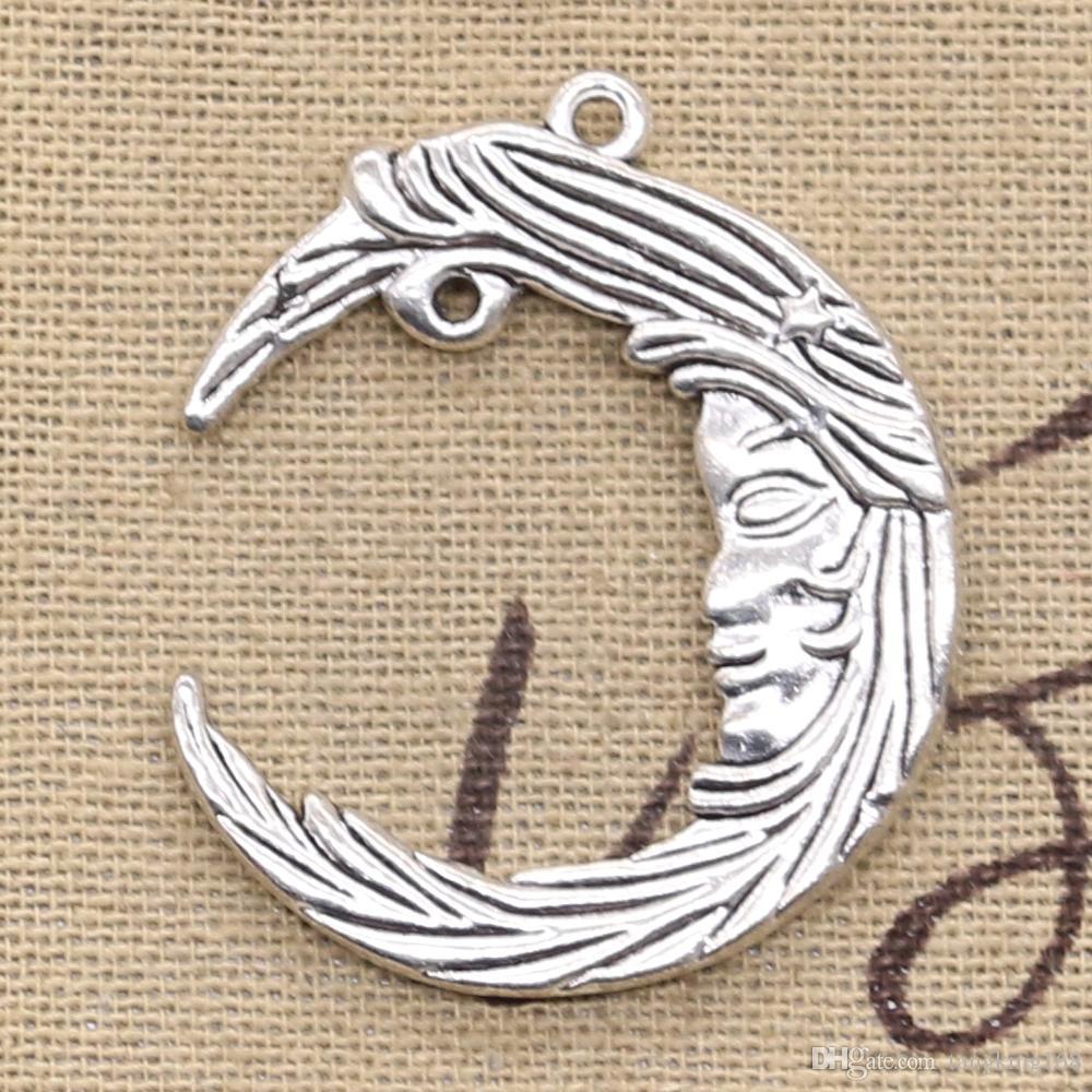 25 шт. Подвески луна лицо 38 * 32 мм Античная, цинковый сплав кулон подходят, винтаж тибетского серебра, DIY для браслета ожерелье