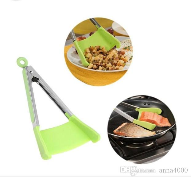 Clever Spatula Tong 2-in-1 cucina spatola tenaglie antiaderente resistente al calore cucina helper cornice cucina pinze strumenti 100 set OOA4861