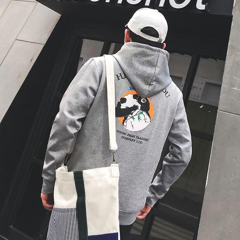 Dünner Abschnitt Hip Hop lustig Panda Druck Pullover Männer lose beiläufige Art und Weise Harajuku Sweatshirt schwarz Art und Weise Allgleiches Street