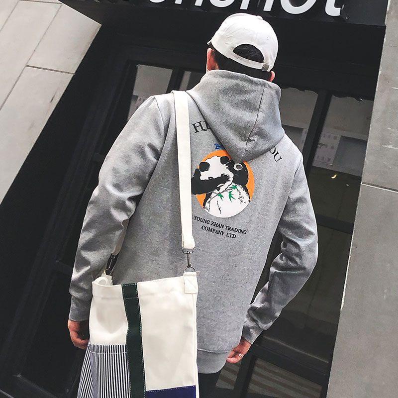 Thin section Hip Hop funny Panda print hoodies men Loose casual fashion Harajuku sweatshirt black fashion All-match streetwear