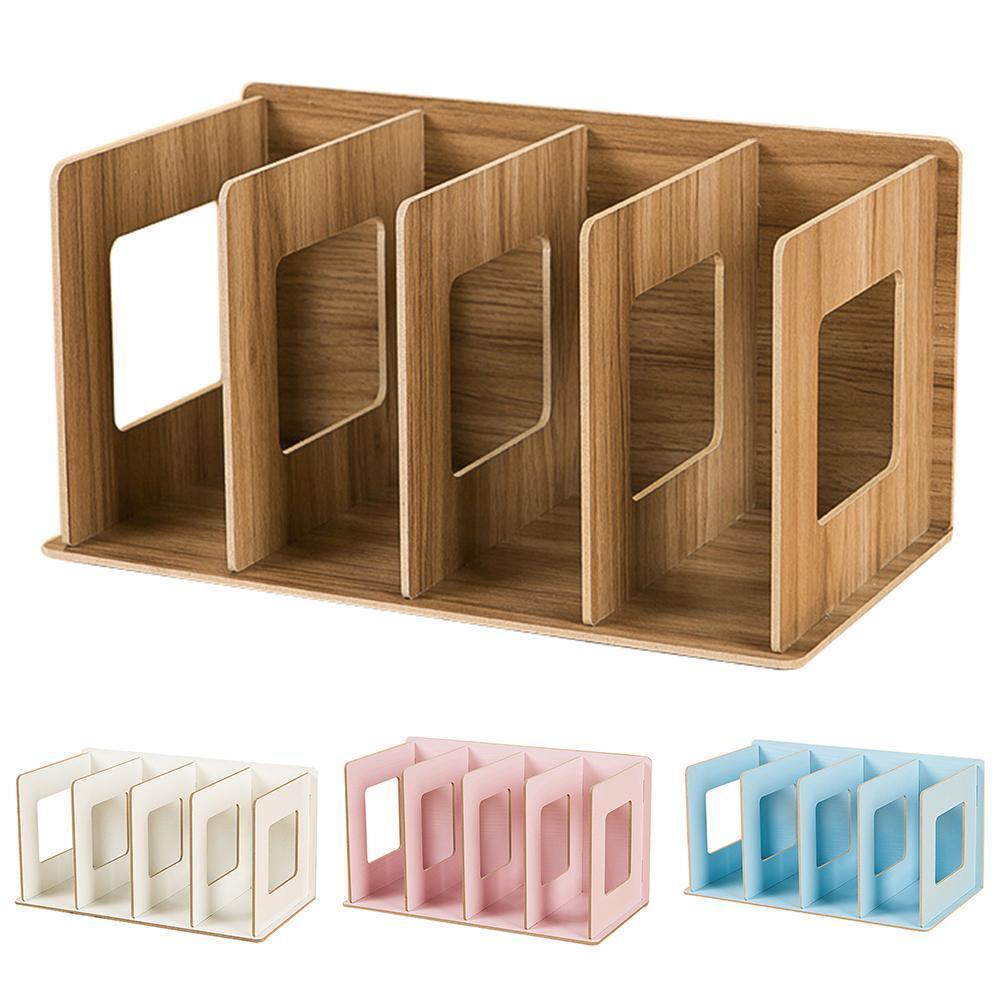 Simple multi-niveaux Bibliothèque 4 Grids Creative rangement pour les livres Mêle bricolage en bois Cabinet Bureau Réserver Rack pour enfants T200319 Accueil