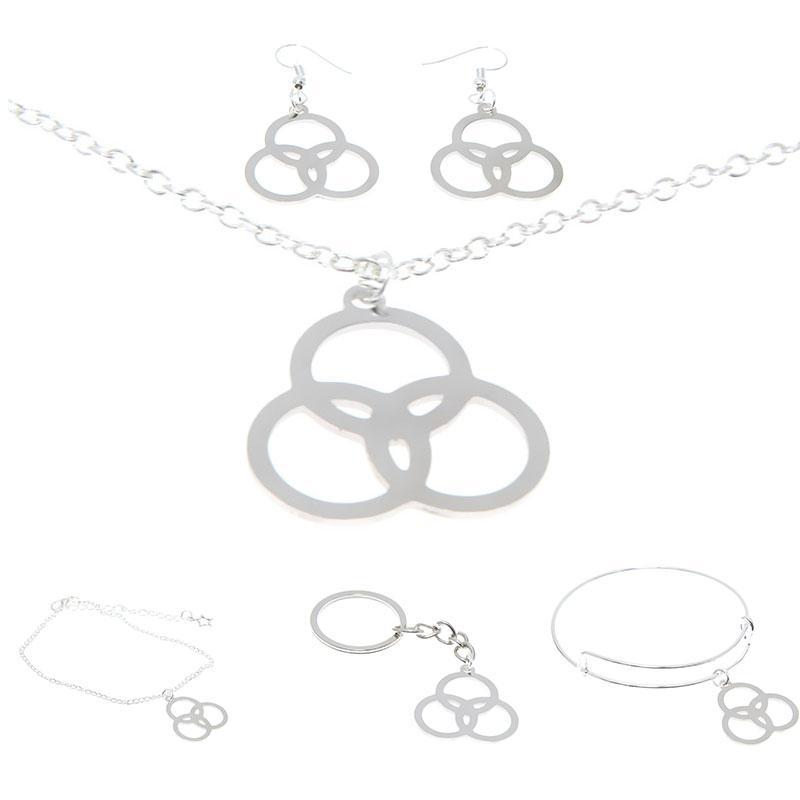 Borromäischen Ringe Schmuck-Set Drei Kreise Stativ des Lebens Emblem Trinity Knot Charm Halskette Armreif Kerying Ohrring Knöchel