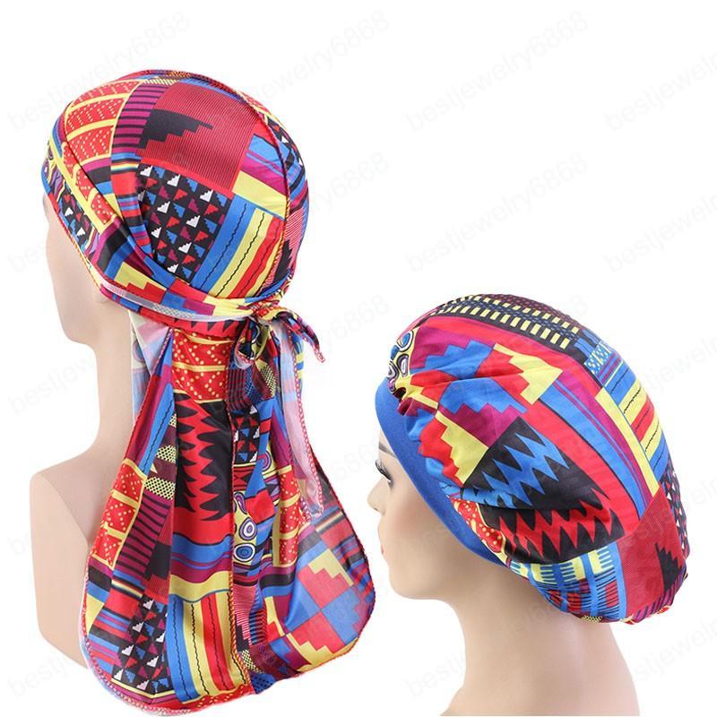 Nouveau Hommes modèle africain imprimé durag soyeux et bonnet 2pcs set femmes chapeau bonnet ankara hommes Long Tail Durags Vague Cap sommeil Cap