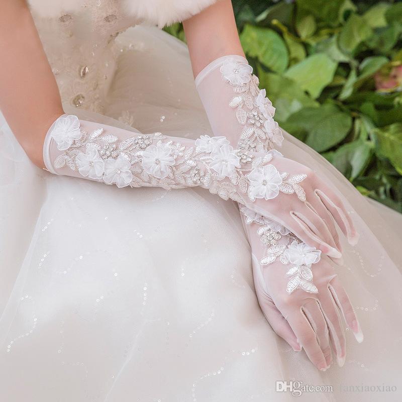 robe de mariée en gros Gants de mariée longue en dentelle coréenne pleine de mariée doigt Accessoires