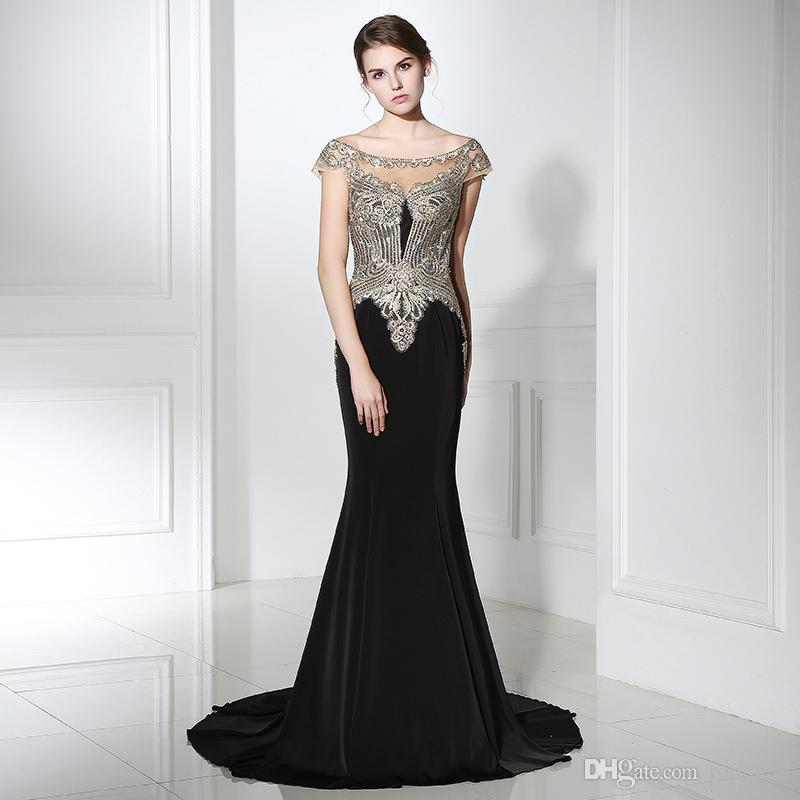 2020 élégante sirène Robes de bal en dentelle Jewel Neck manches Appliques Robes de soirée pas cher africaine Robes cocktail Robes Lx401