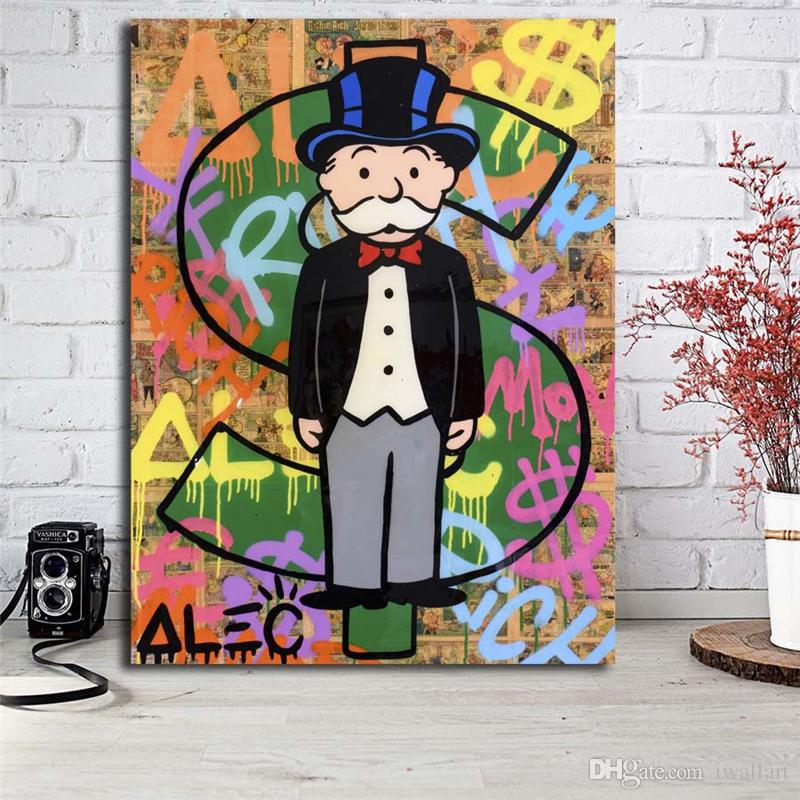 Monopolyingly Dollar Sign Statue By Art Canvas Poster Painting Wall Picture Print Home Bedroom Decoration Accessories