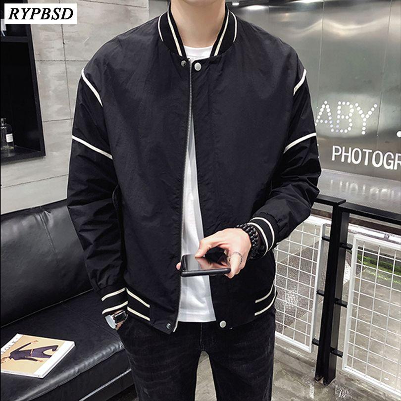2019 Spring New Tide Brand Loose Men Baseball Jacket Zipper Stand Collar Long Sleeve Streetwear Hip Hop Bomber Jacket 3 Colors