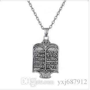 Z27 Tibétain Argent Plaqué Juif Torah Défiler 10 Commandements Hébreu Pendentif Femmes Colliers Vintage Bijoux Ethniques