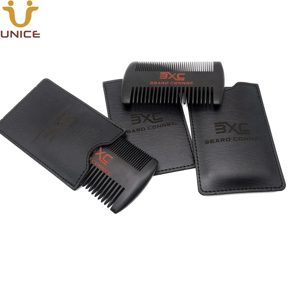 MOQ 50PCS OEM Personnalisé Logo Dual Côtés Fine Barreau noir Barbonaté de la barbe avec étui en cuir Peigne en bois pour hommes Coiffure Beard Soins