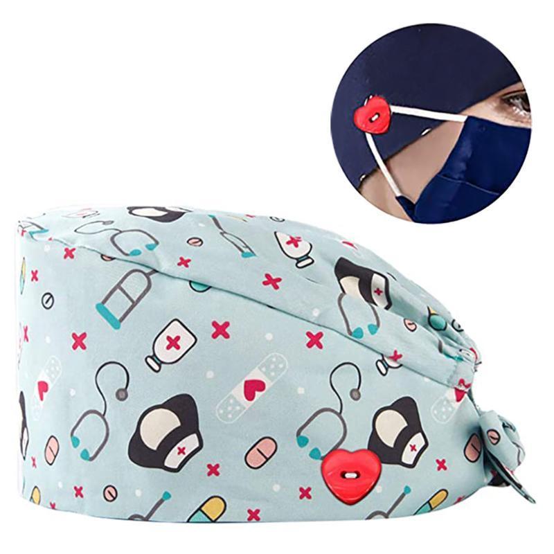 Mode Scrub Cap Printed Knopf Arbeit Hut Lässige Unisexjustierbares Frauen und Männer Scrub Cap 2020 Ultra Low Preis vorrätig # T1P