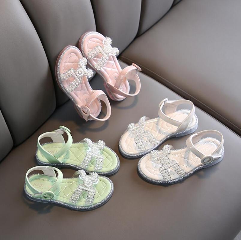 Filles Sandales d'été 2020 Chaussures enfants perlage Sandales en cuir Beachwear Mode Bébé Tout-petit Casual Princesse enfants Sandales