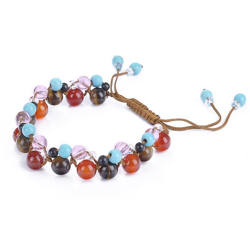 Faites à la main en perles tressées Strands Bracelets pour hommes, femmes pierres naturelles Agate Perles Pendentif Bracelet filles Mesdames Cadeaux de bijoux à la main