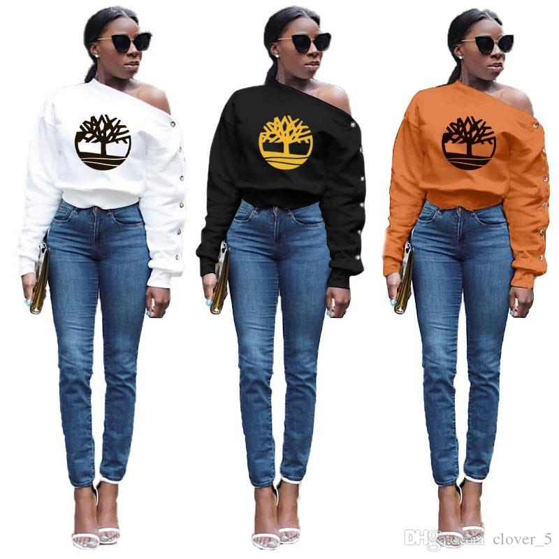 여자의 블라우스 T 셔츠는 긴 소매 가을 인쇄 높은 품질 유명한 티셔츠는 스큐 칼라 넥 셔츠 여성 의류 klw3116을 까마귀