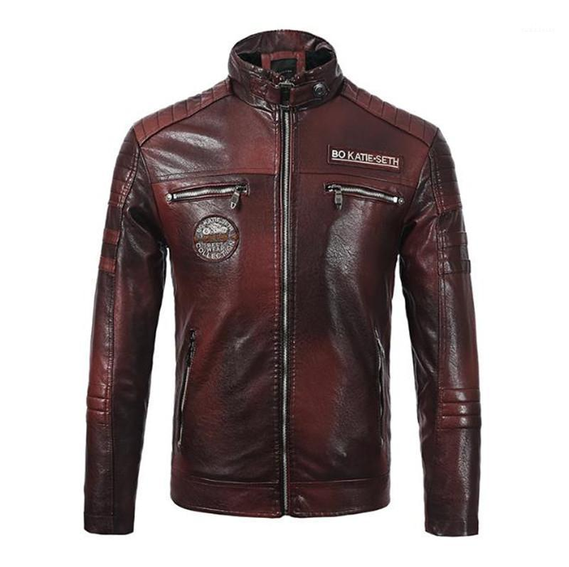 PU Leather Mens Biker Jackets Stand Collar Long Sleeve Thick Designer Mens Leather Jacket Autumn Mens Printed Coats