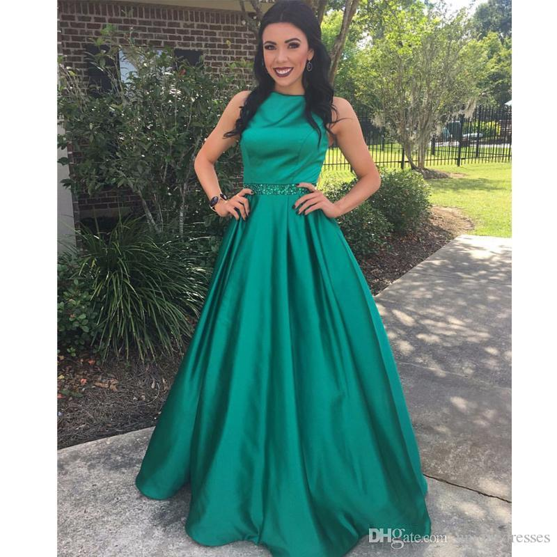 Dark Green Evening Dresses Bead Sequined Waist 2019 Jewel Neck A Line Satin Party Gown For Girl Long Train Prom Dress Cheap