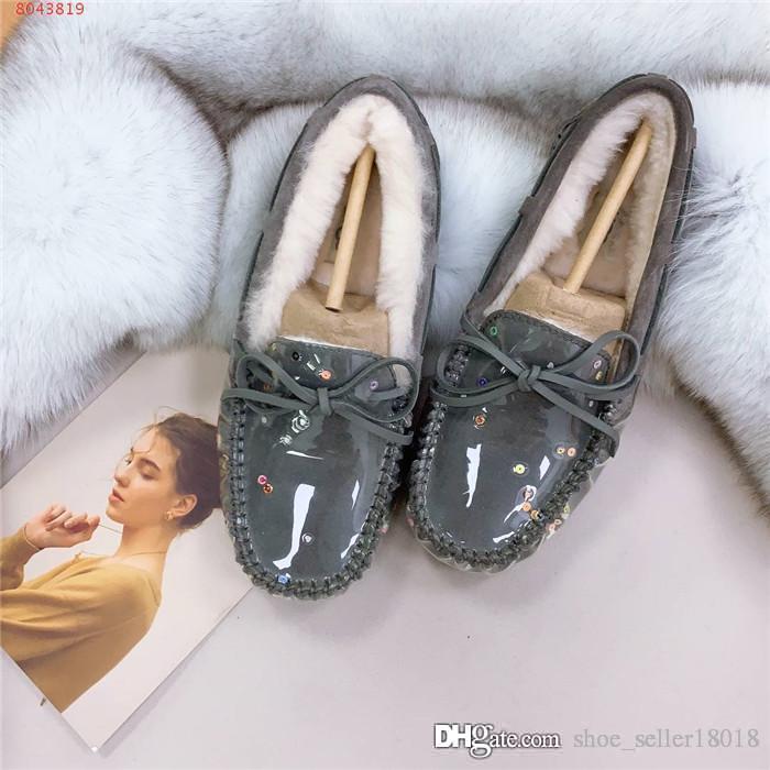 Sonbahar ve kış pamuk kürk rahat ayakkabı peluş, şeffaf PVC ışık payetler ayakkabı, ayakkabı kutusu tam spektrum yansıtacak