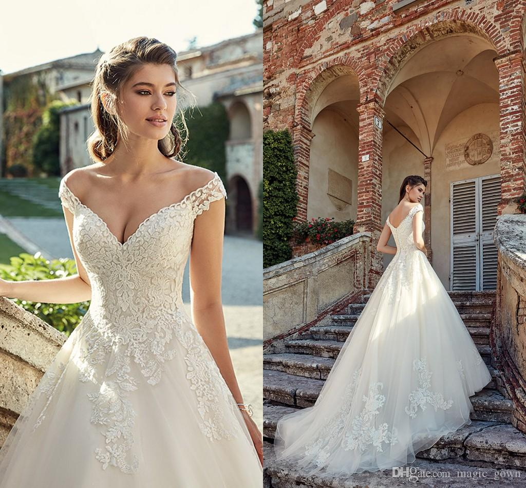 Sexy Fora Do Ombro Rendas Vestidos de Casamento Applique Tiered Tulle Jardim Elegante Barato Vestido de Noiva Vestidos de Noiva Vestidos De Novia