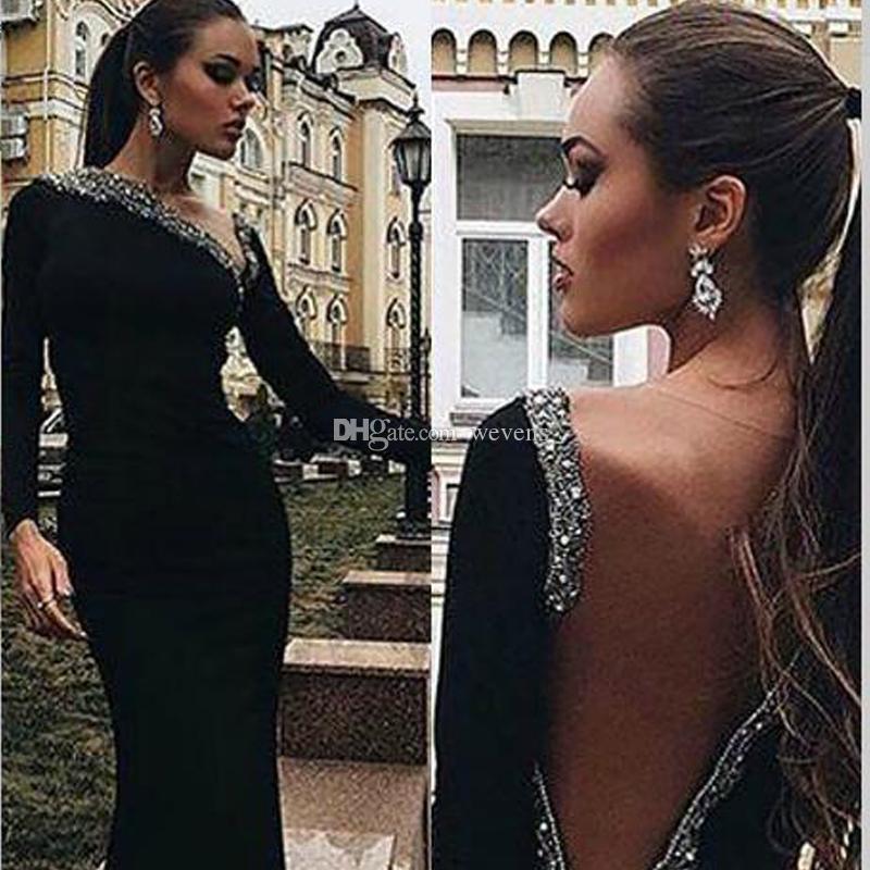 Modern Black Illusion Back Mermaid Abiti da sera Jewel Neck Manica lunga Perle e paillettes Celebrity Gown Satin Sweep Train Formal Wears