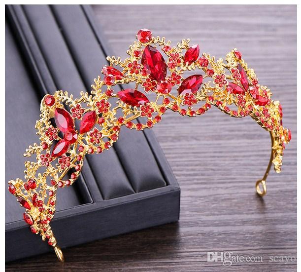 Im Jahr 2019, koreanische Kristallkrone, rote Krone, Braut Kleid Kleidung Zubehör, Brautschmuck Großhandel, Low-Cost-Aktionen,