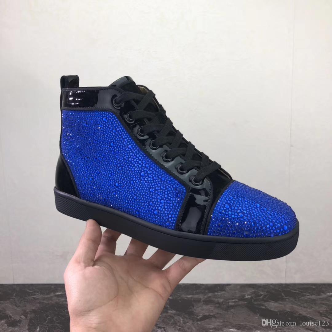 Marcas famosas azul rhinestone zapatillas altas superiores laboutin negro charol de cristal hombres mujeres zapatos inferiores rojos ocasionales