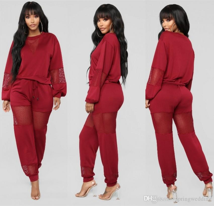 New Red Long Sleeves Womens Tracksuit 2019 Pullovers Loose Style Sexy Women Casual Suit Pullover With Pant Jogging 2pc Set Sport Wear FS5311