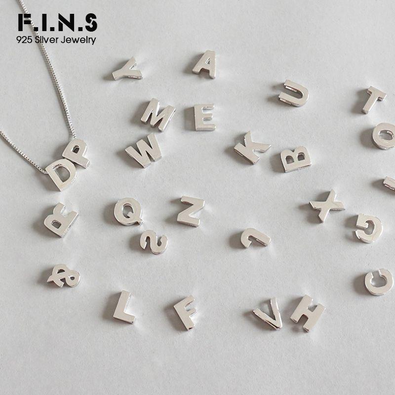 F. I. N. S S925 стерлингового серебра простой 26 английский алфавит кулон без цепочки письмо DIY Ожерелье для любителей 925 серебряные украшения