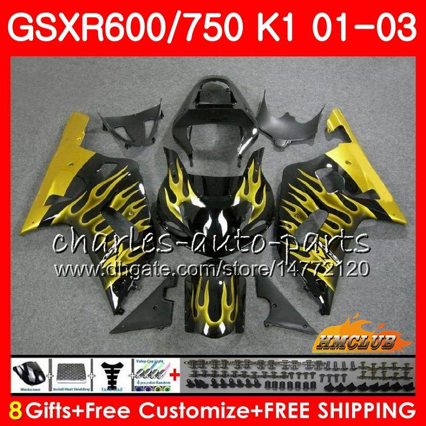 Fiamme Gold New 8GIFTS Body per Suzuki GSXR600 GSX R750 K1 GSXR-600 GSX-R750 4HC.66 GSX-R750 4HC.66 GSXR750 GSXR 600 750 01 02 03 2001 Kit carenatura 2002 2003 2003