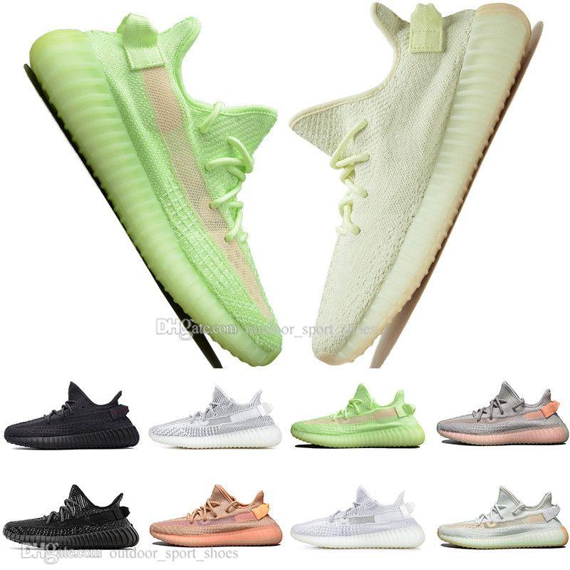 Hot New Kanye West Clay V2 GID Glow In The Dark CRÈME Chaussures de Course Pour Homme Hyperspace True Form Femmes Hommes Sport Designer Baskets