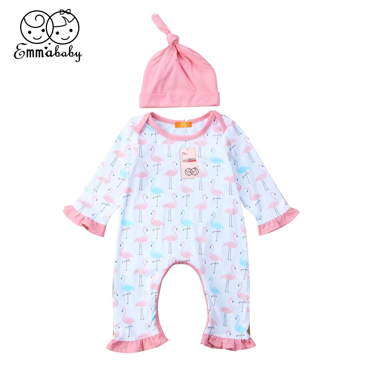Neue Ankunft Kinderkleidung stellte Nette neugeborene Baby-Kind-Mädchen-Flamingo-Spielanzug + Hut Overall 2pcs nettes Kind Mädchen Cotton Outfits Satz drucken