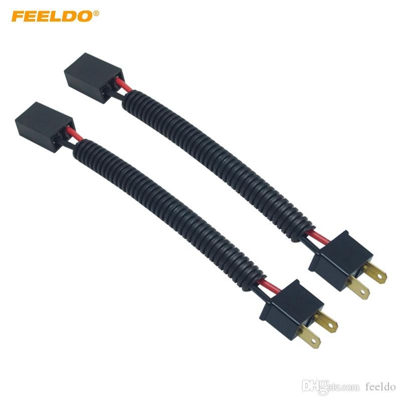 FEELDO 2 PCS Voiture LED DHI Phare Câble H7 Mâle À Femelle Connecteur Plug Lampe Ampoule Prise Câblage Adaptateur Titulaire # 1582