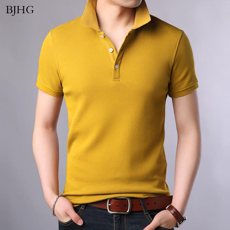 BJHG 2019 New Fashion Brands Shirt Men's 100% Cotton Summer Slim Fit Short Sleeve Solid Color Boys Polos Casual Clothing