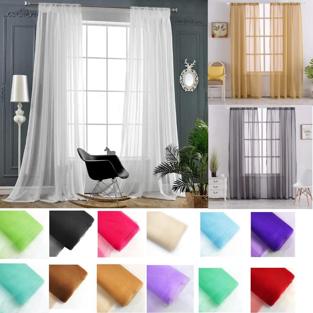 현대 거실 Tulle 커튼 단색, 침실 창 Tulle 커튼 Sheers, 유럽 Voile Treatments Drapes