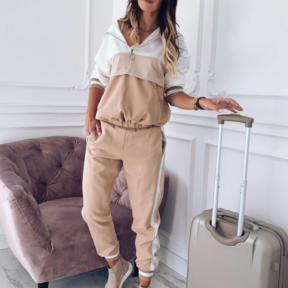 2020 년 여성 운동복 스포츠웨어 세트 패치 워크 여성 후드 셔츠와 Sweatpant2 개 봄 가을 피해자 설정