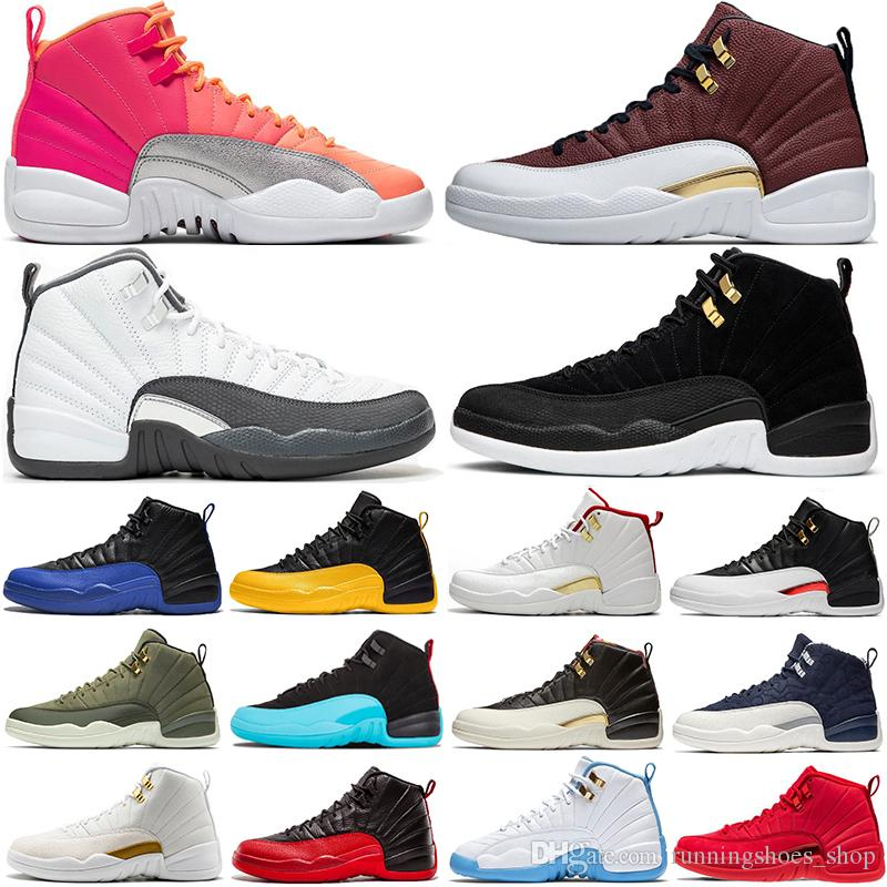 2020 New Arrival Dark Grey 12 12s GAME BALL Mens Basketball Shoes Reverse Taxi FIBA Hot Punch Flu Game Bulls Gym Red Sports Sneakers From