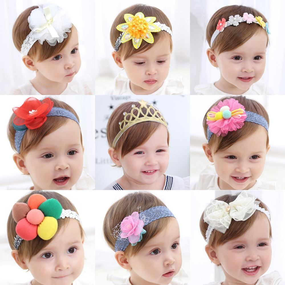 9 pcs Baby Girls Floral Headbands Hair Bows Nylon Elastic Headband for Newborn Infant Toddlers Kids