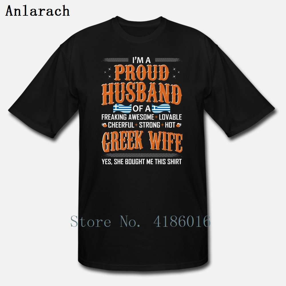 Orgoglioso marito di moglie greca comprò questa maglietta comoda lettera primavera o collo famoso tee maglietta personalizzata unisex camicia
