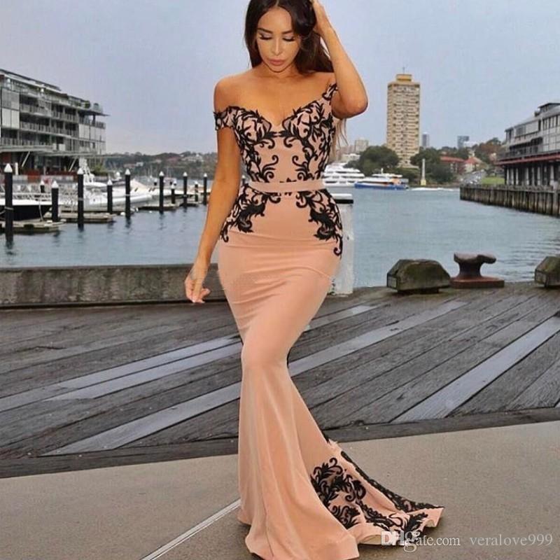С плеча русалка вечерние платья аппликации кружева атласная длиной до пола длинные платья выпускного вечера элегантные платья подружки невесты длинная молния вверх