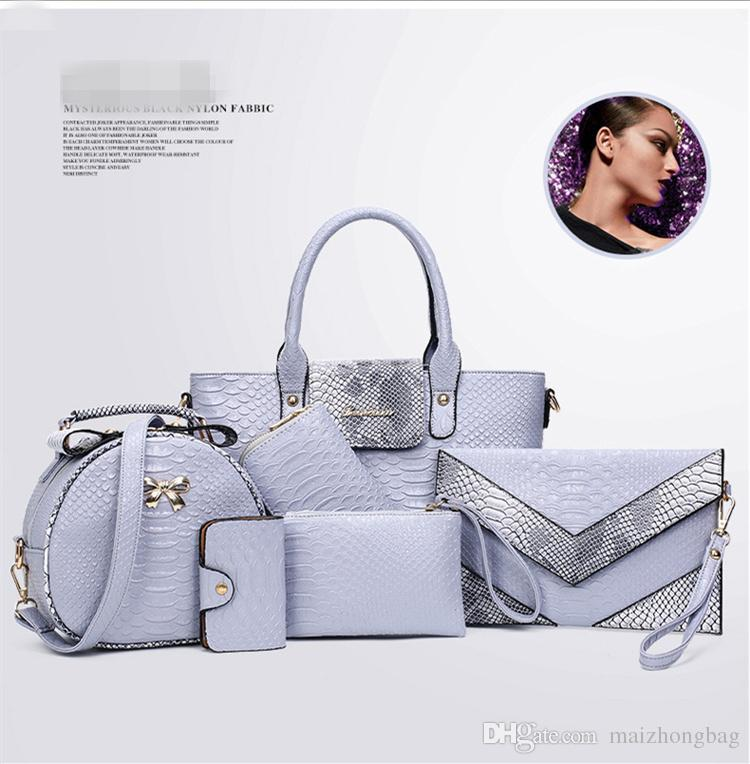 yeni moda Kirpik torba 6pcs / set kadın çanta omuz elbise çantası moda yılan timsah big bag Debriyaj Çantalar