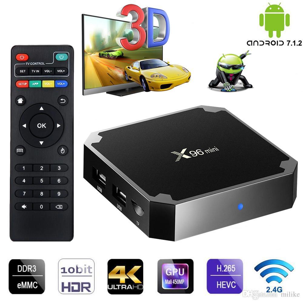 Best Box X96Mini Android 7.1 TV Coffret 2GB 16 Go Amlogic S905W Quad-core Smart TV Smart TV Player X96 Mini 1G8g Set Top Boîte